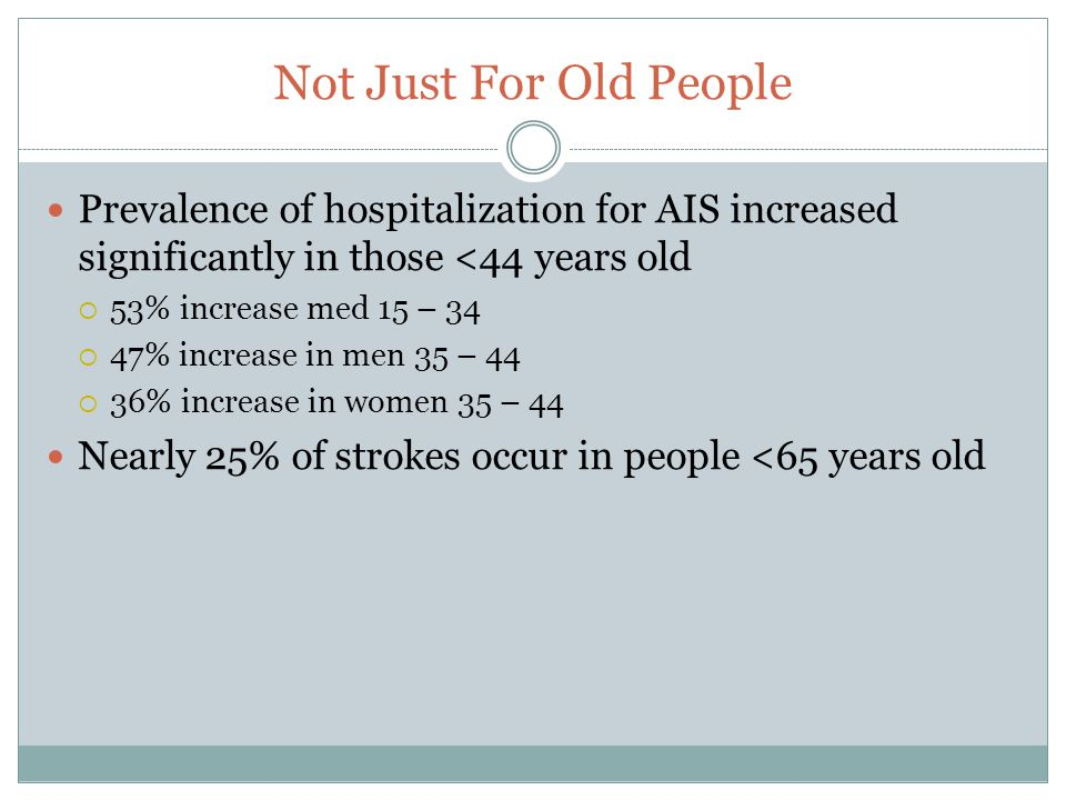Not Just For Old People Prevalence of hospitalization for AIS increased significantly in those <44 years old  53% increase med 15 – 34  47% increase in men 35 – 44  36% increase in women 35 – 44 Nearly 25% of strokes occur in people <65 years old