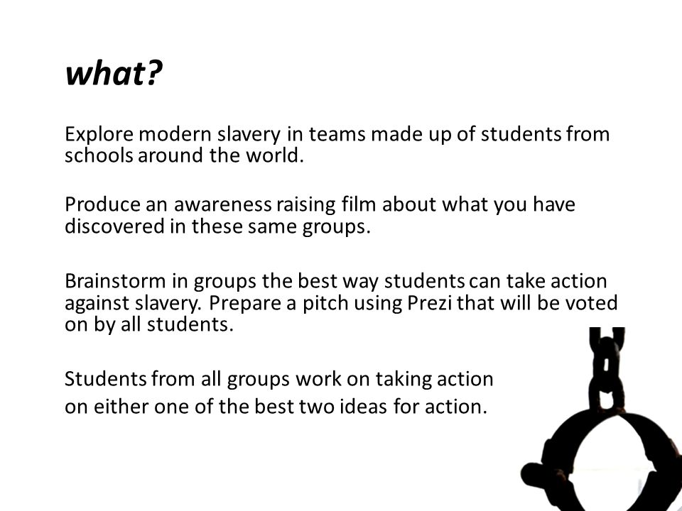 what. Explore modern slavery in teams made up of students from schools around the world.