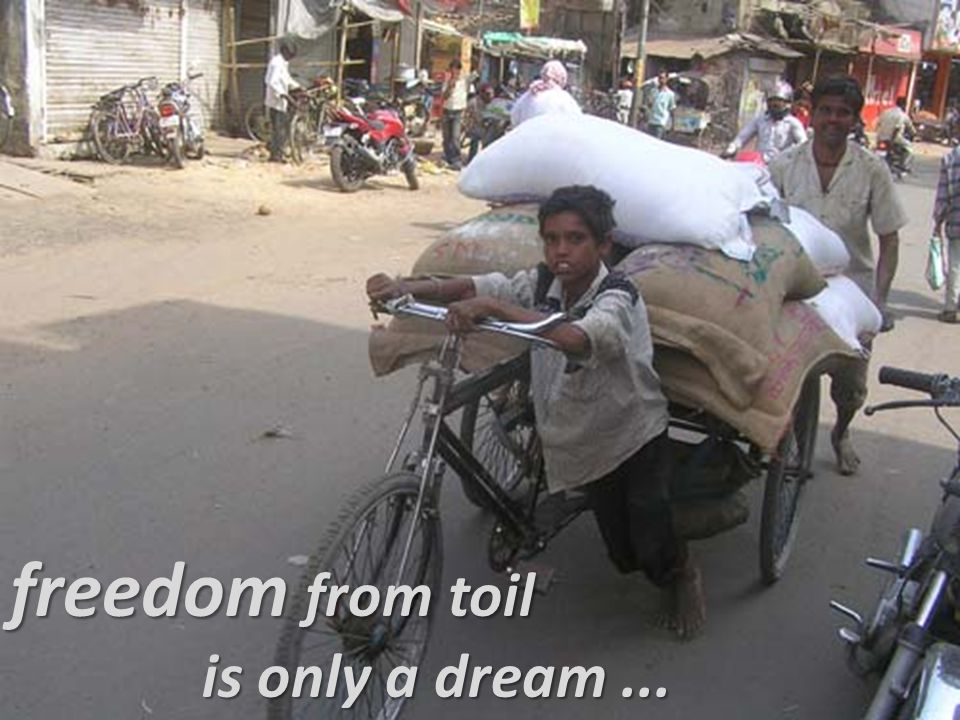 freedom from toil is only a dream...