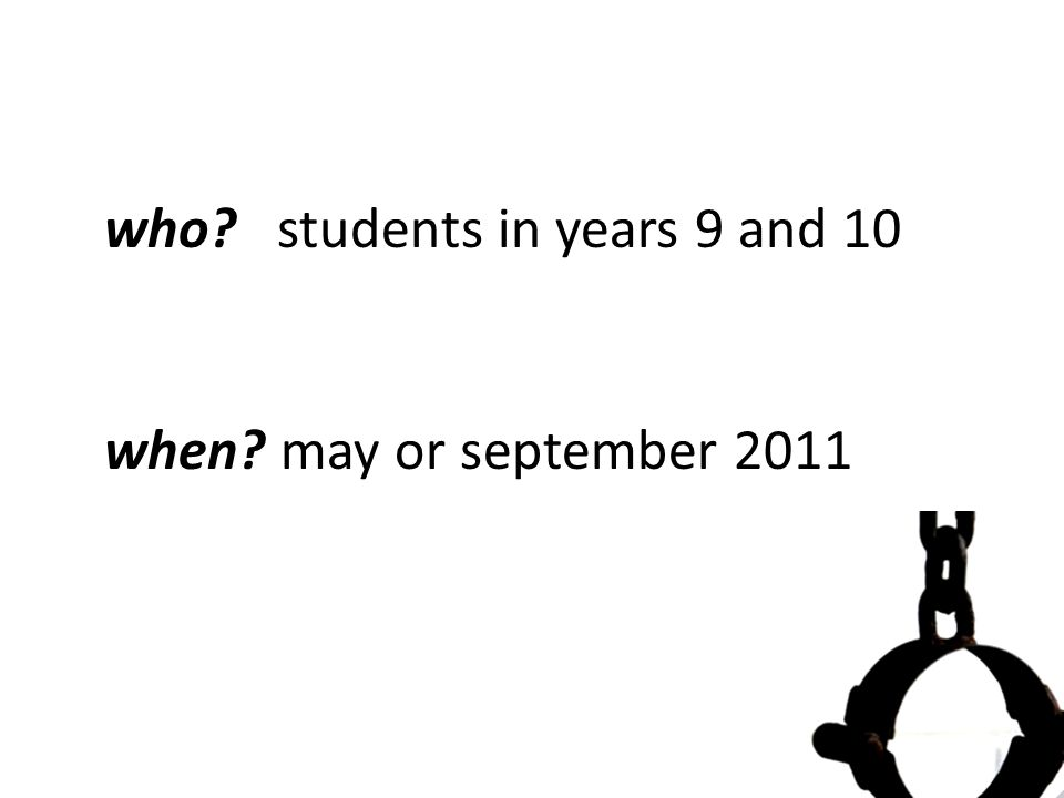 who students in years 9 and 10 when may or september 2011