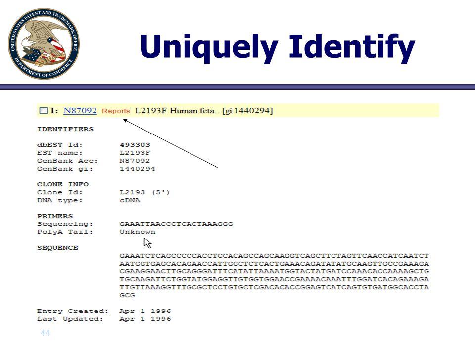 44 Uniquely Identify