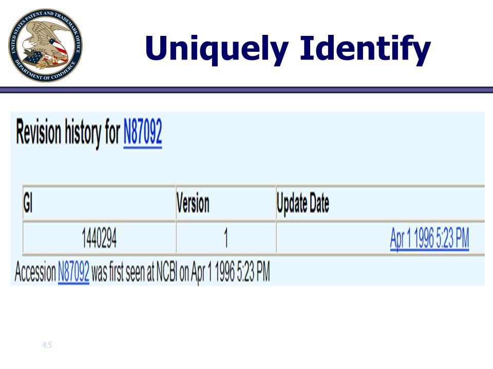 45 Uniquely Identify