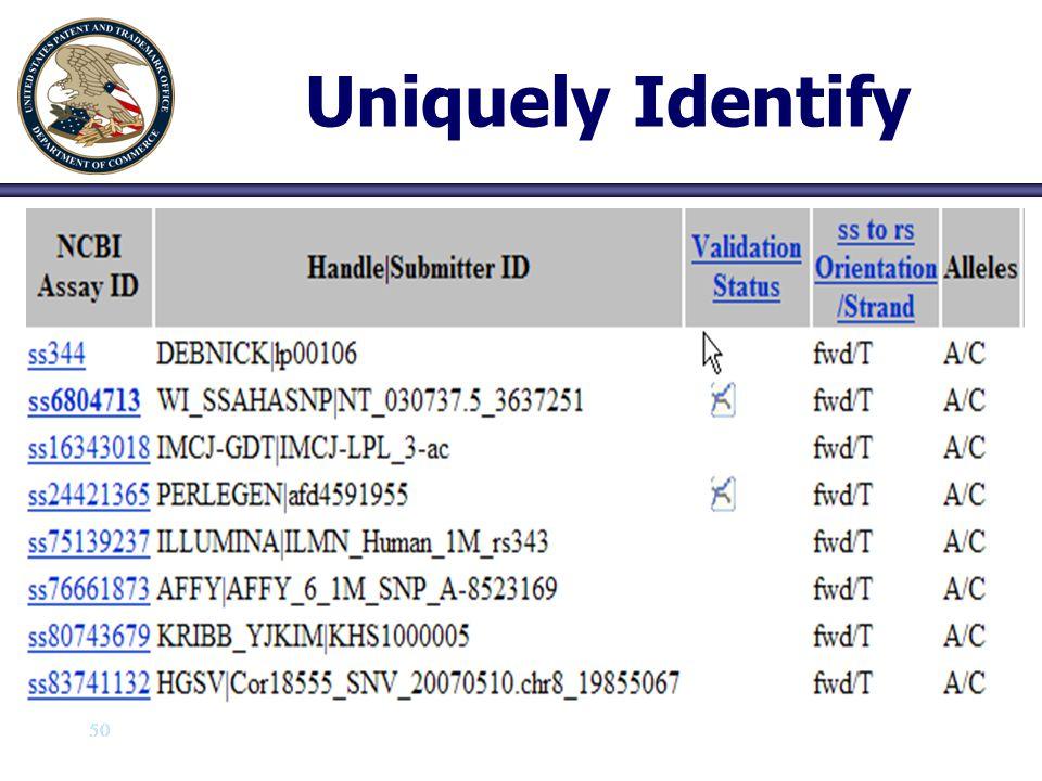 50 Uniquely Identify