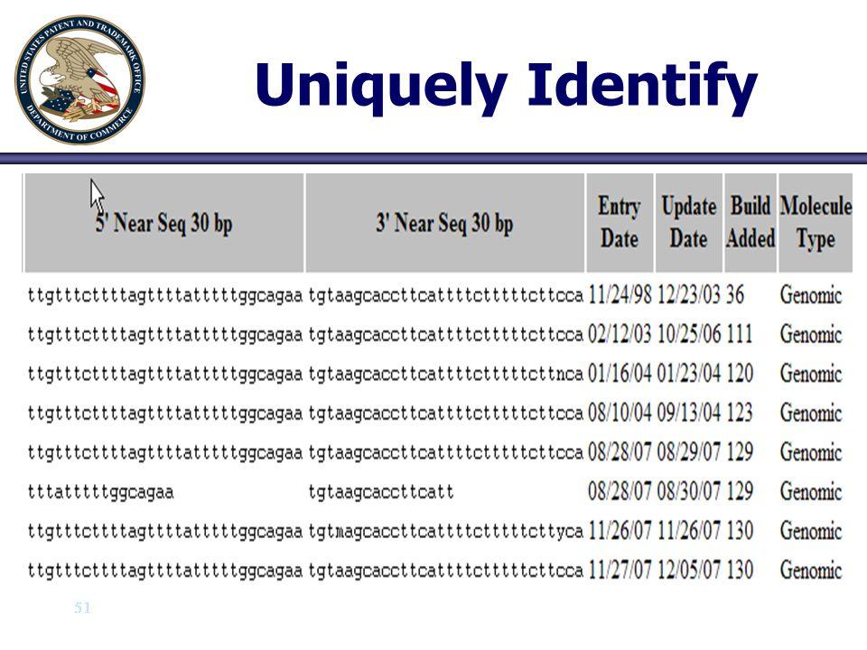 51 Uniquely Identify