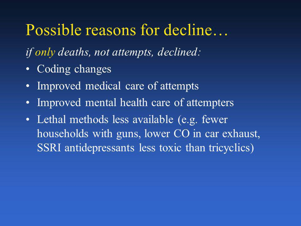 Possible reasons for decline… if only deaths, not attempts, declined: Coding changes Improved medical care of attempts Improved mental health care of attempters Lethal methods less available (e.g.