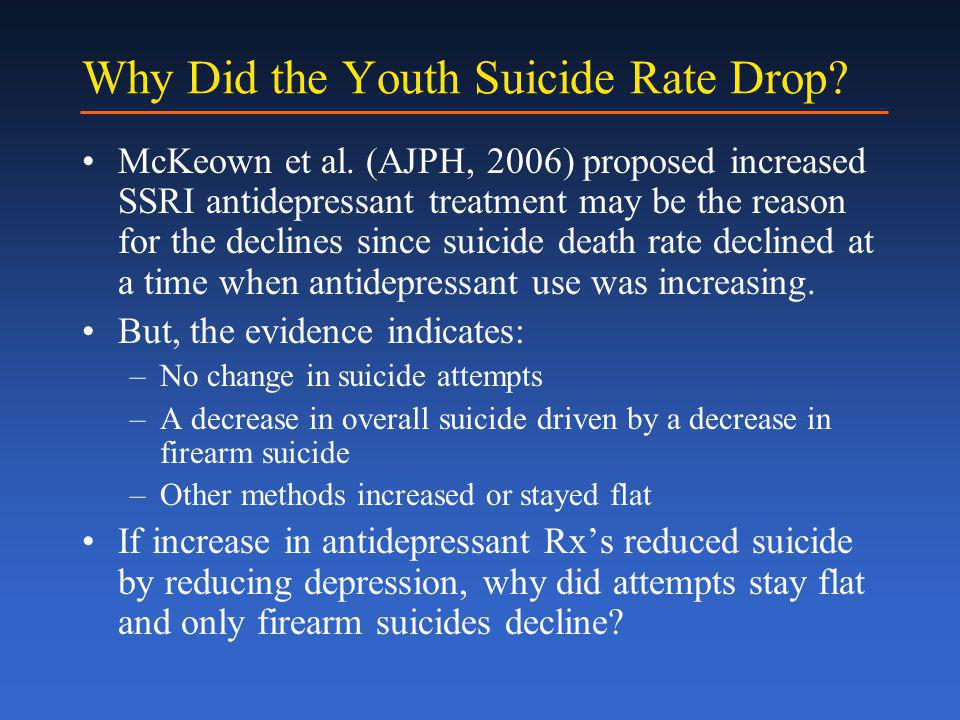 Why Did the Youth Suicide Rate Drop. McKeown et al.