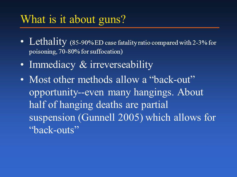 Suicide Rate, 65+ year-olds TotalFirearmPoison Suffocation Other 30% decline
