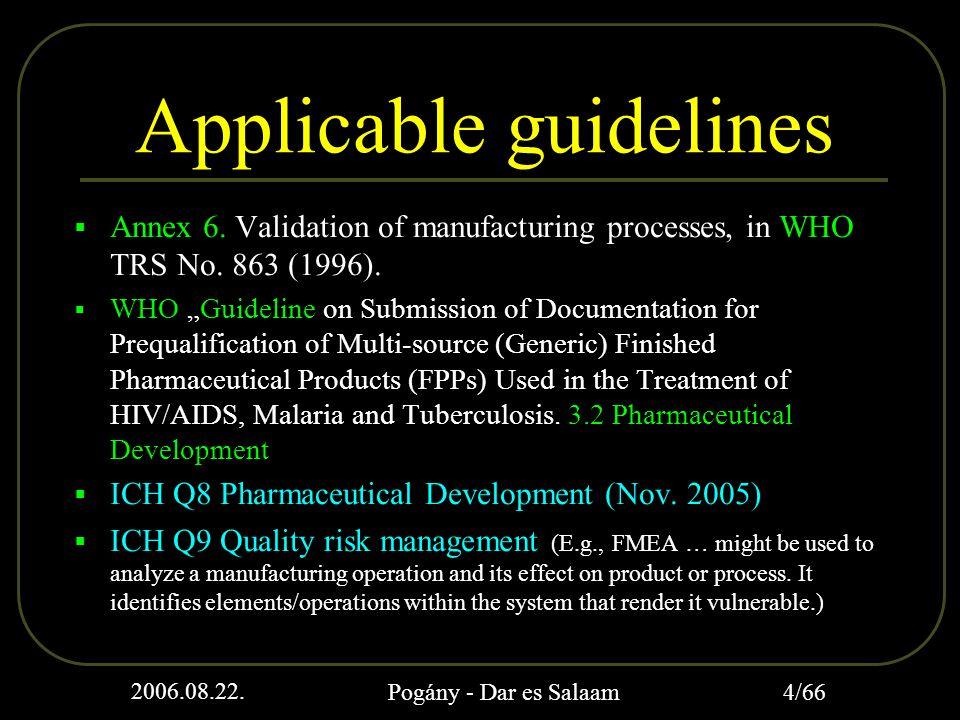 2006.08.22. Pogány - Dar es Salaam 4/66 Applicable guidelines  Annex 6.
