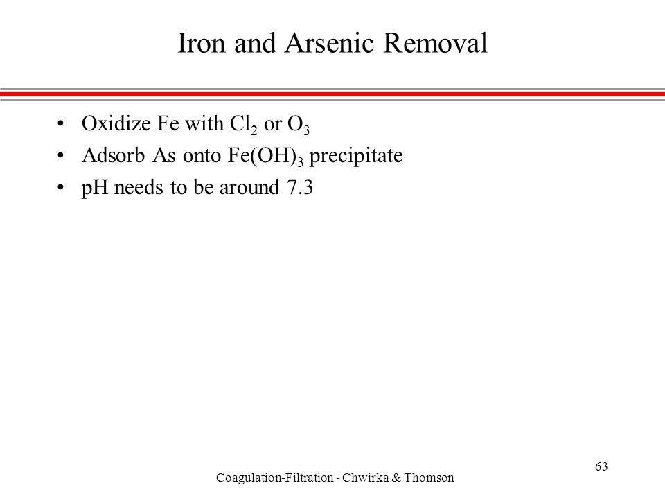 Coagulation-Filtration - Chwirka & Thomson 63 Iron and Arsenic Removal Oxidize Fe with Cl 2 or O 3 Adsorb As onto Fe(OH) 3 precipitate pH needs to be around 7.3