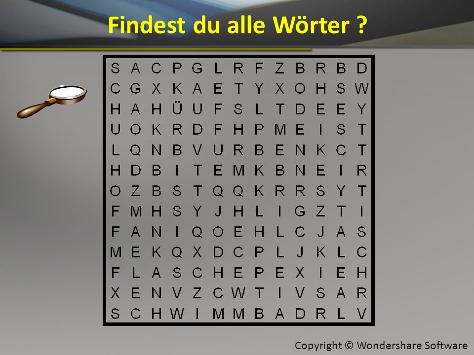 Copyright © Wondershare Software Findest du alle Wörter ?