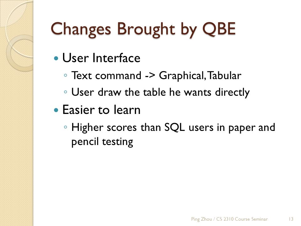 Changes Brought by QBE User Interface ◦ Text command -> Graphical, Tabular ◦ User draw the table he wants directly Easier to learn ◦ Higher scores than SQL users in paper and pencil testing Ping Zhou / CS 2310 Course Seminar13