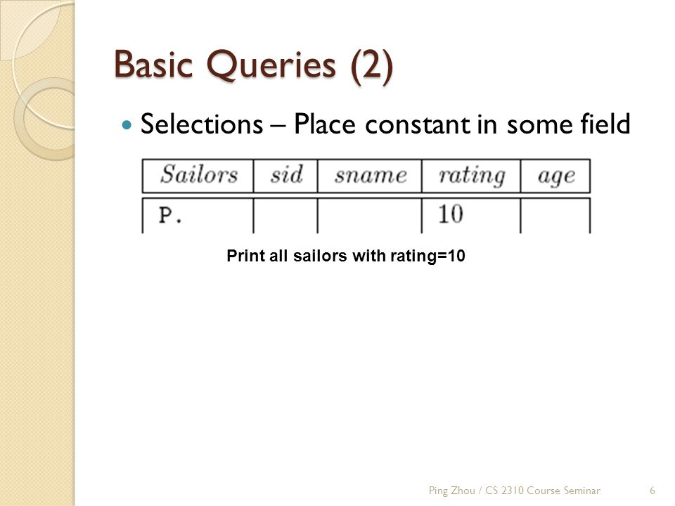 Basic Queries (2) Selections – Place constant in some field Print all sailors with rating=10 Ping Zhou / CS 2310 Course Seminar6
