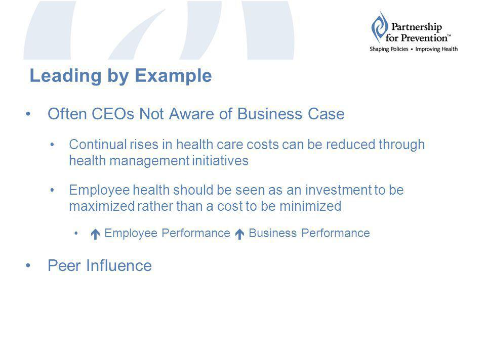 Leading by Example Often CEOs Not Aware of Business Case Continual rises in health care costs can be reduced through health management initiatives Employee health should be seen as an investment to be maximized rather than a cost to be minimized  Employee Performance  Business Performance Peer Influence