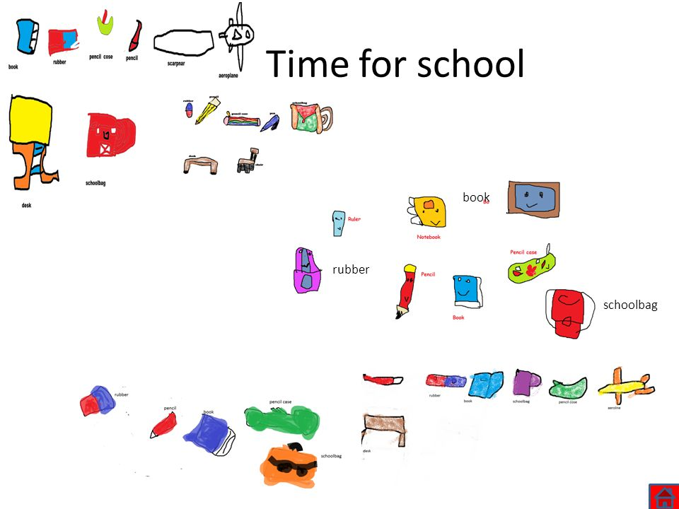 Time for school schoolbag book rubber