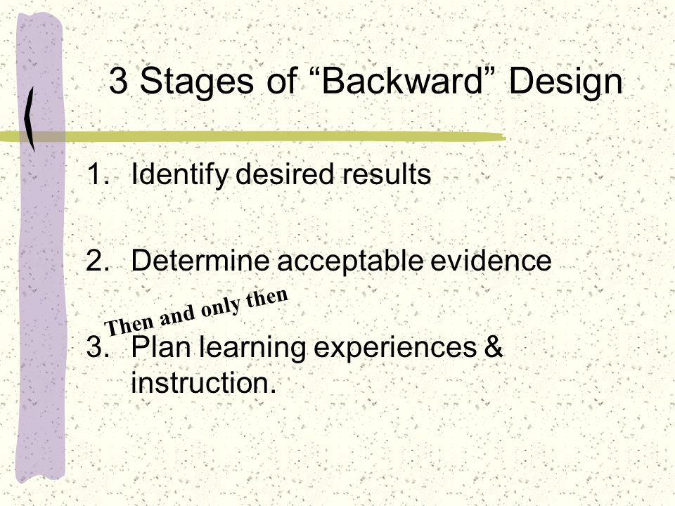 3 Stages of Backward Design 1.Identify desired results 2.Determine acceptable evidence 3.Plan learning experiences & instruction.