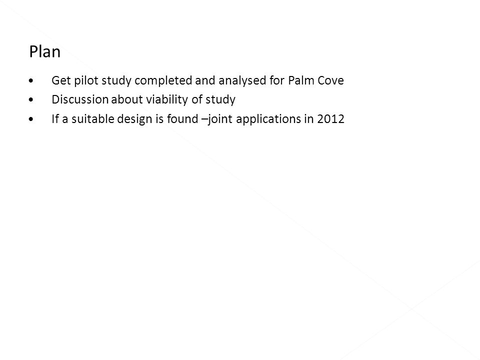 Get pilot study completed and analysed for Palm Cove Discussion about viability of study If a suitable design is found –joint applications in 2012