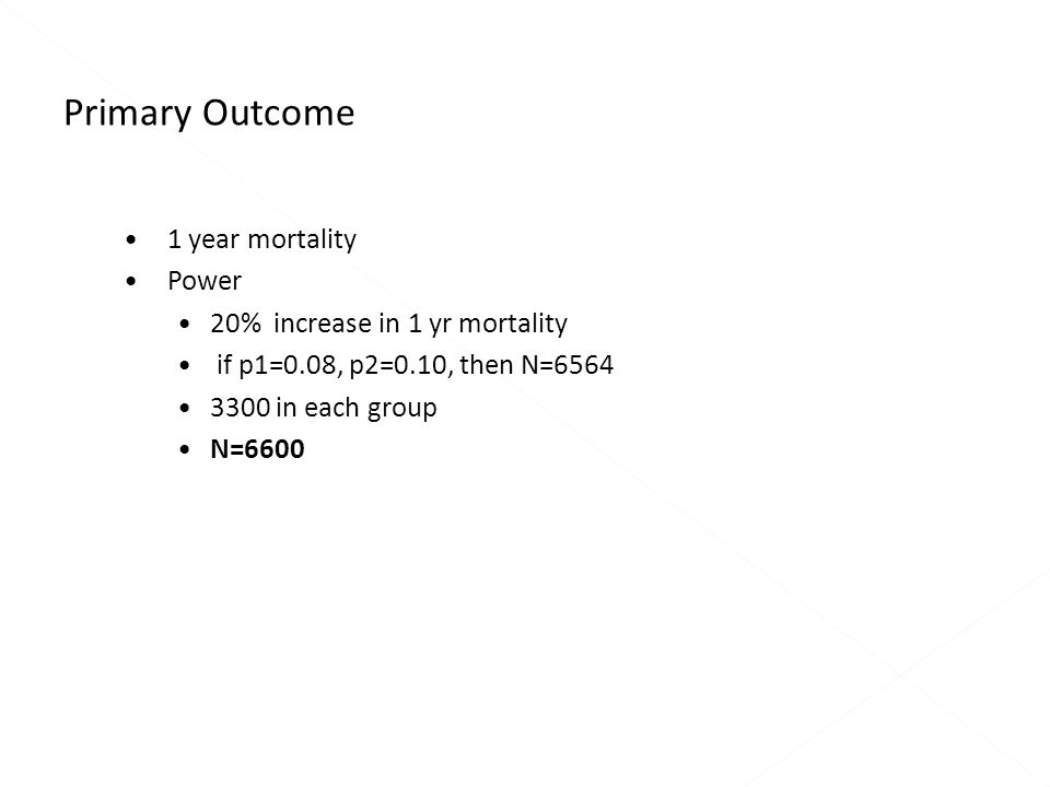 1 year mortality Power 20% increase in 1 yr mortality if p1=0.08, p2=0.10, then N=6564 3300 in each group N=6600