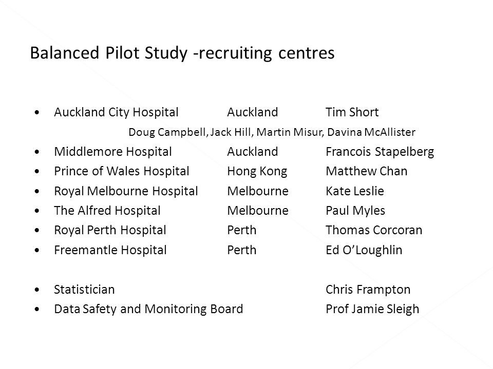 Auckland City Hospital AucklandTim Short Doug Campbell, Jack Hill, Martin Misur, Davina McAllister Middlemore Hospital Auckland Francois Stapelberg Prince of Wales Hospital Hong KongMatthew Chan Royal Melbourne Hospital MelbourneKate Leslie The Alfred Hospital MelbournePaul Myles Royal Perth Hospital PerthThomas Corcoran Freemantle Hospital PerthEd O'Loughlin StatisticianChris Frampton Data Safety and Monitoring BoardProf Jamie Sleigh