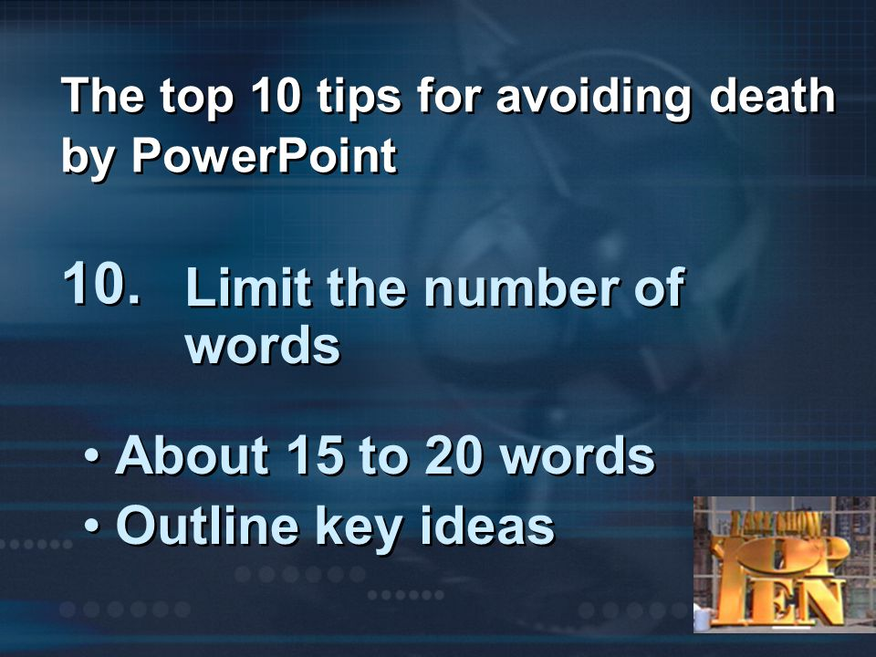 """The Top Ten Tips for Avoiding """"Death by PowerPoint"""""""