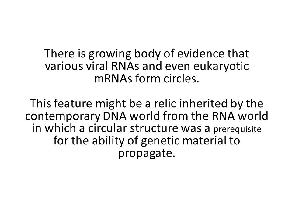 There is growing body of evidence that various viral RNAs and even eukaryotic mRNAs form circles.