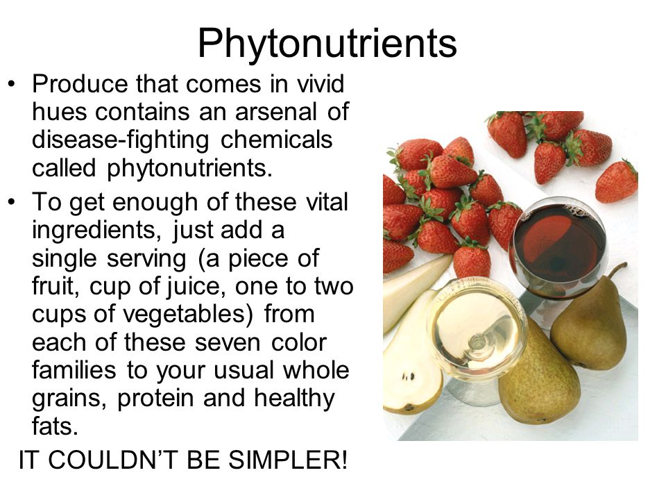 Phytonutrients Produce that comes in vivid hues contains an arsenal of disease-fighting chemicals called phytonutrients.