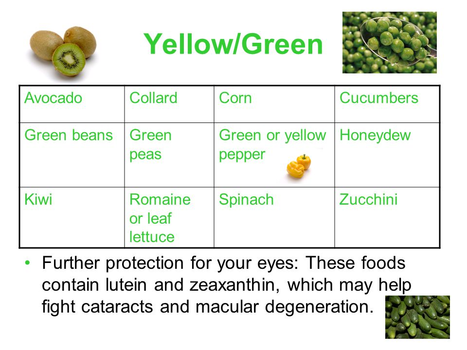 Yellow/Green Further protection for your eyes: These foods contain lutein and zeaxanthin, which may help fight cataracts and macular degeneration.