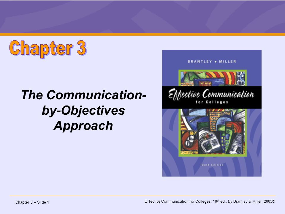 Chapter 3 – Slide 2 Effective Communication for Colleges, 10 th ed., by Brantley & Miller, 2005©  Plan a message using the Communication-by-Objectives approach.