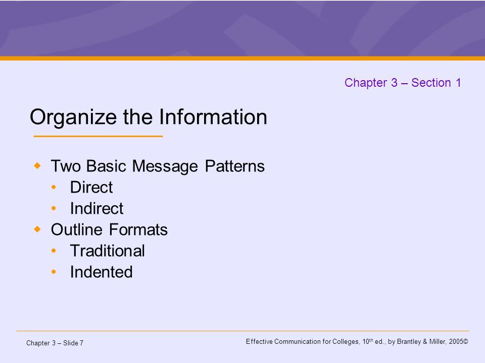 Chapter 3 – Slide 7 Effective Communication for Colleges, 10 th ed., by Brantley & Miller, 2005© Chapter 3 – Section 1 Organize the Information  Two Basic Message Patterns Direct Indirect  Outline Formats Traditional Indented