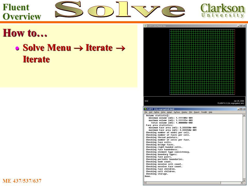 Fluent Overview Ahmadi/Nazridoust ME 437/537/637 How to… Solve Menu  Iterate  Iterate Solve Menu  Iterate  Iterate