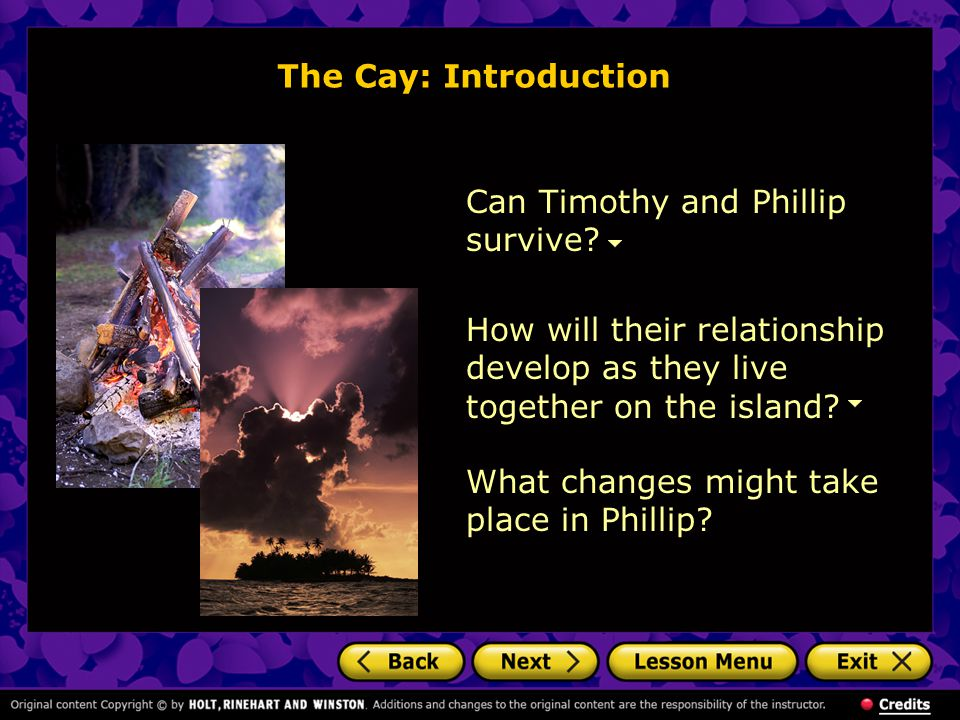 The Cay: Introduction Can Timothy and Phillip survive.