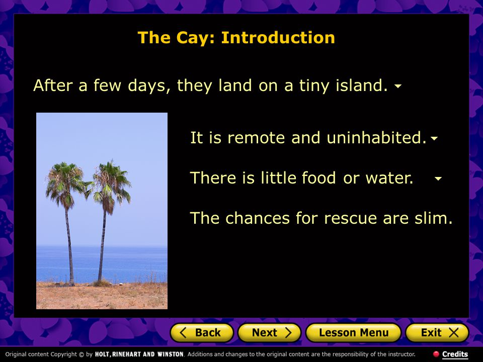 After a few days, they land on a tiny island.The Cay: Introduction There is little food or water.