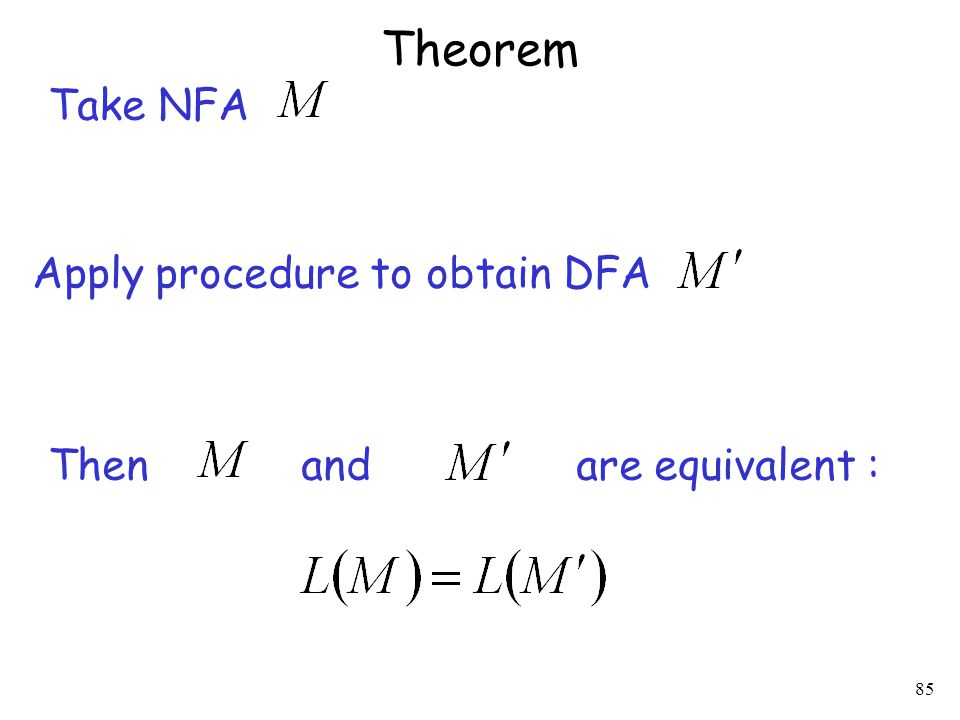 85 Theorem Take NFA Apply procedure to obtain DFA Then and are equivalent :