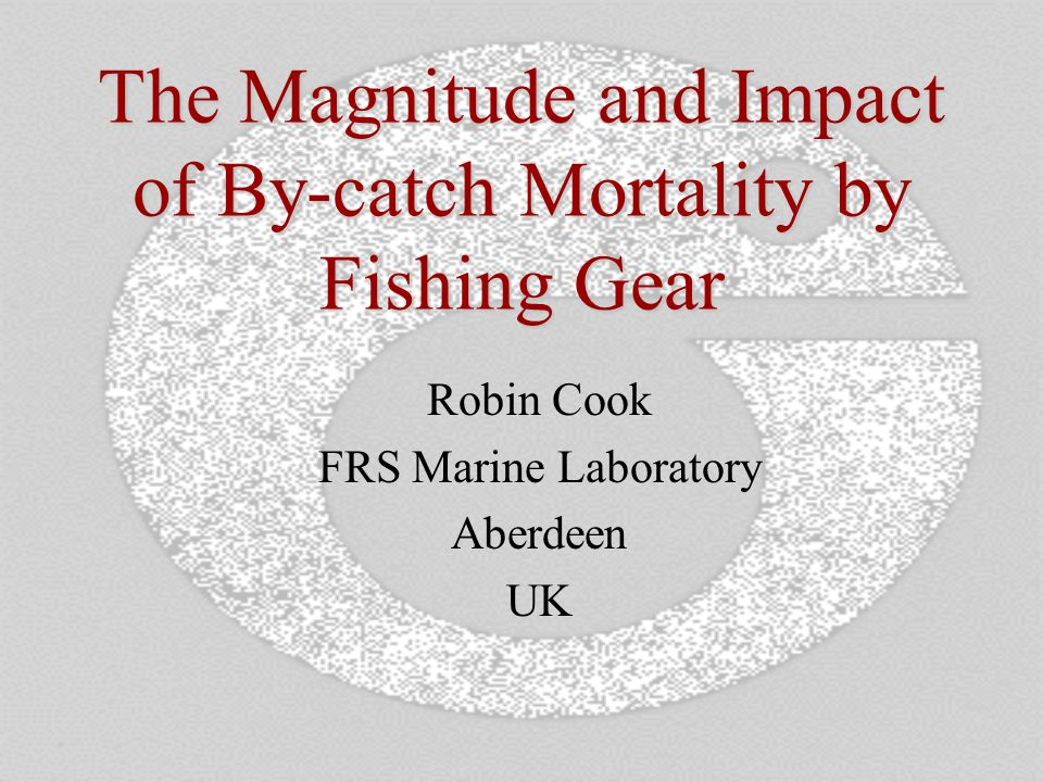 The Magnitude and Impact of By-catch Mortality by Fishing Gear Robin Cook FRS Marine Laboratory Aberdeen UK