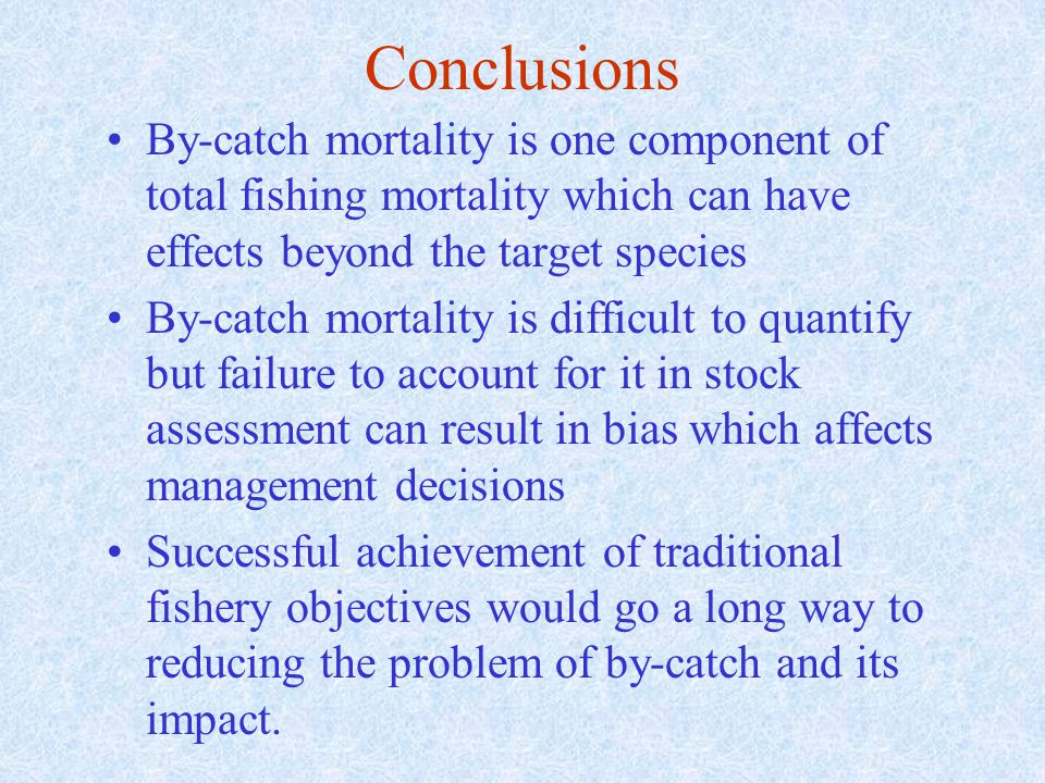 Conclusions By-catch mortality is one component of total fishing mortality which can have effects beyond the target species By-catch mortality is difficult to quantify but failure to account for it in stock assessment can result in bias which affects management decisions Successful achievement of traditional fishery objectives would go a long way to reducing the problem of by-catch and its impact.