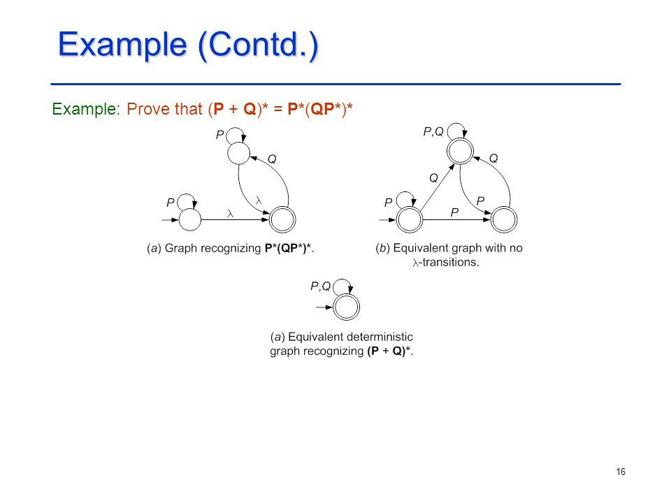 16 Example (Contd.) Example: Prove that (P + Q)* = P*(QP*)*