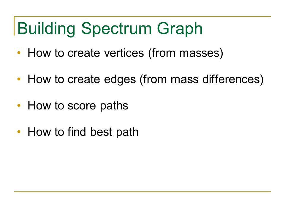 Building Spectrum Graph How to create vertices (from masses) How to create edges (from mass differences) How to score paths How to find best path