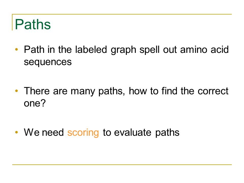 Paths Path in the labeled graph spell out amino acid sequences There are many paths, how to find the correct one.
