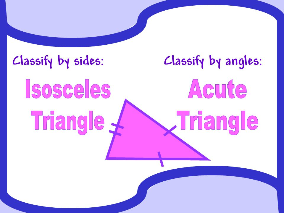 Classify by sides:Classify by angles: