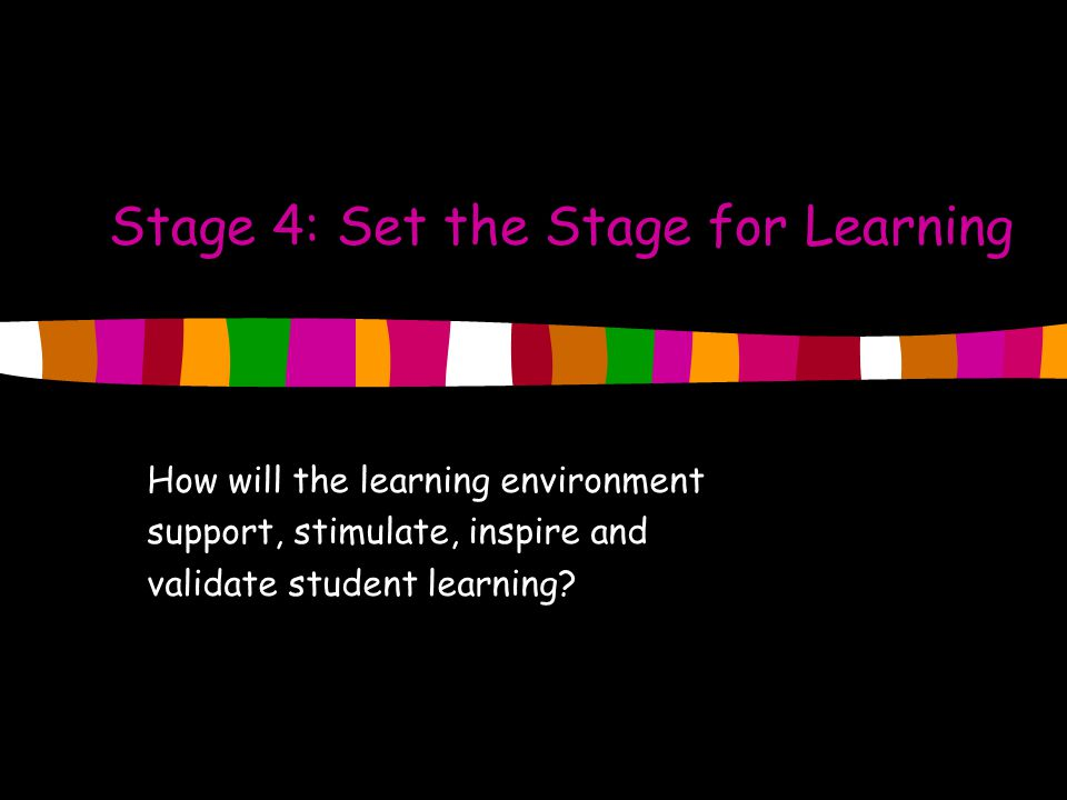 Stage 4: Set the Stage for Learning How will the learning environment support, stimulate, inspire and validate student learning?