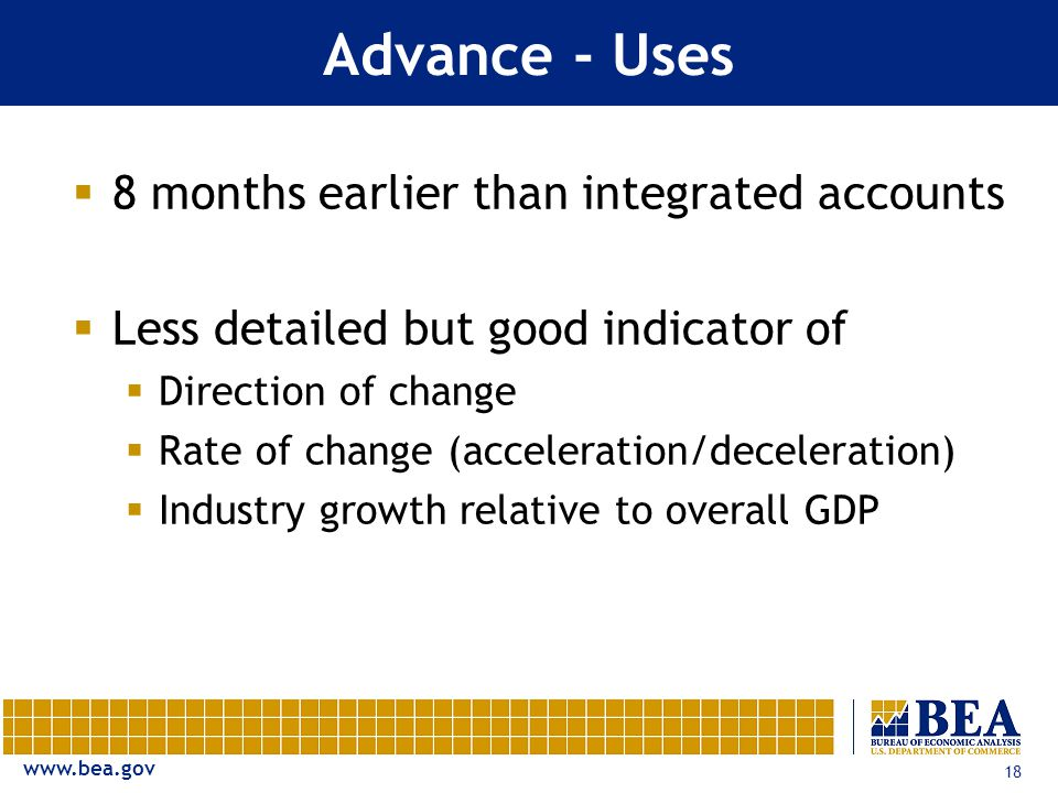 18  8 months earlier than integrated accounts  Less detailed but good indicator of  Direction of change  Rate of change (acceleration/deceleration)  Industry growth relative to overall GDP Advance - Uses
