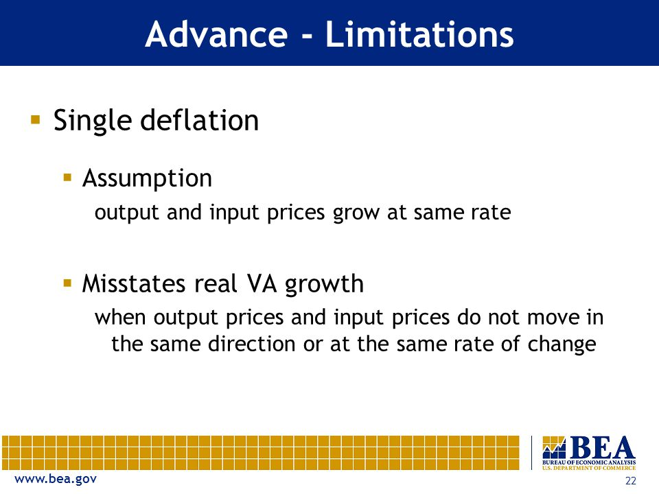 22 Advance - Limitations  Single deflation  Assumption output and input prices grow at same rate  Misstates real VA growth when output prices and input prices do not move in the same direction or at the same rate of change