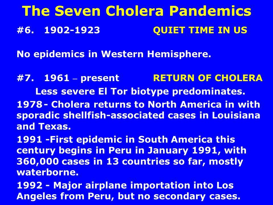 The Seven Cholera Pandemics #6.1902-1923QUIET TIME IN US No epidemics in Western Hemisphere. #7.1961 – present RETURN OF CHOLERA Less severe El Tor bi