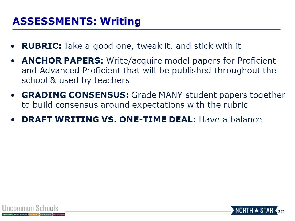 P37 ASSESSMENTS: Writing RUBRIC: Take a good one, tweak it, and stick with it ANCHOR PAPERS: Write/acquire model papers for Proficient and Advanced Pr