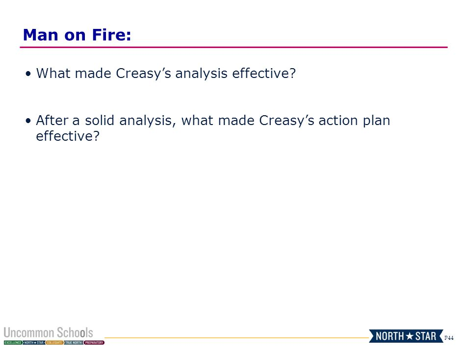 P44 What made Creasy's analysis effective? After a solid analysis, what made Creasy's action plan effective? Man on Fire: