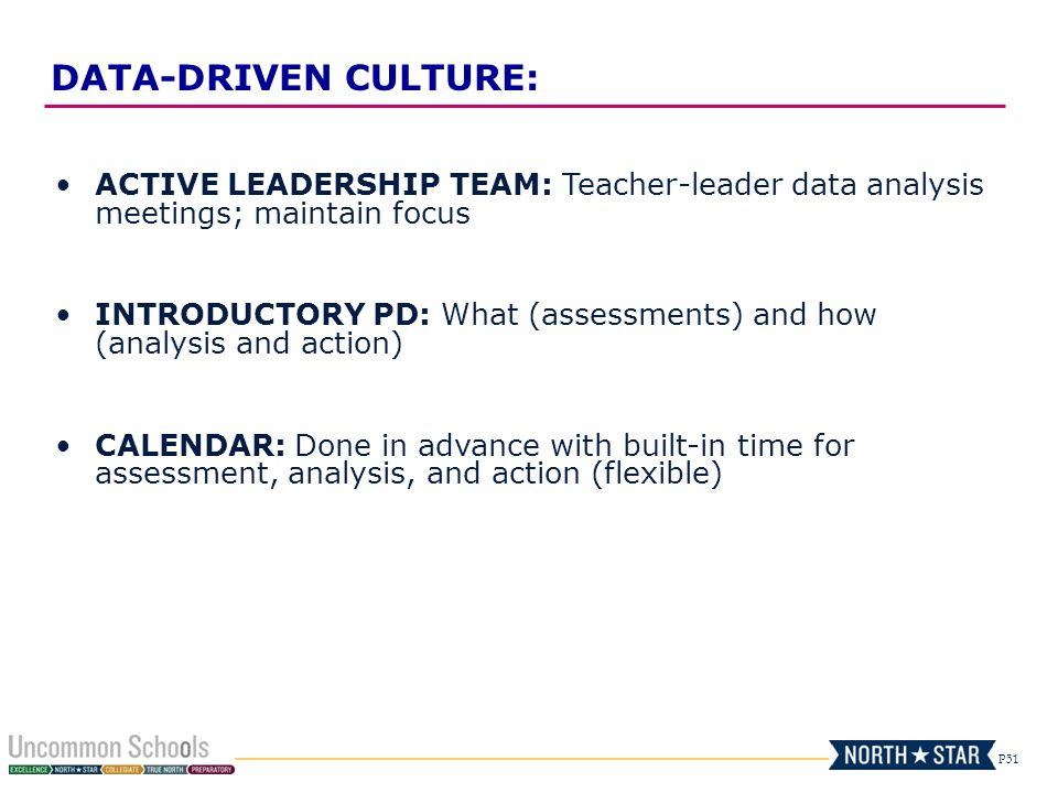 P51 ACTIVE LEADERSHIP TEAM: Teacher-leader data analysis meetings; maintain focus INTRODUCTORY PD: What (assessments) and how (analysis and action) CA