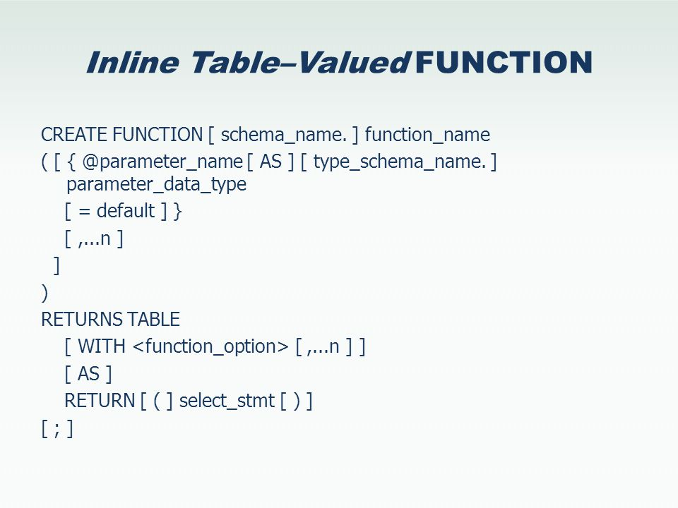 Inline Table–Valued FUNCTION CREATE FUNCTION [ schema_name.