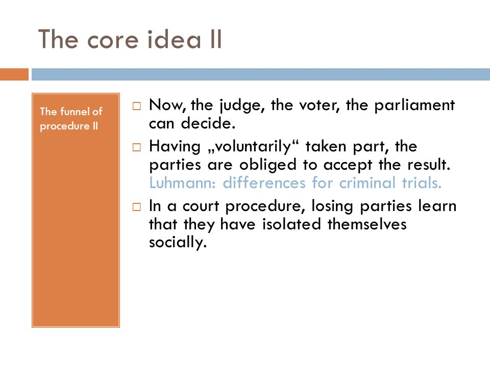 """The core idea II The funnel of procedure II  Now, the judge, the voter, the parliament can decide.  Having """"voluntarily"""" taken part, the parties are"""