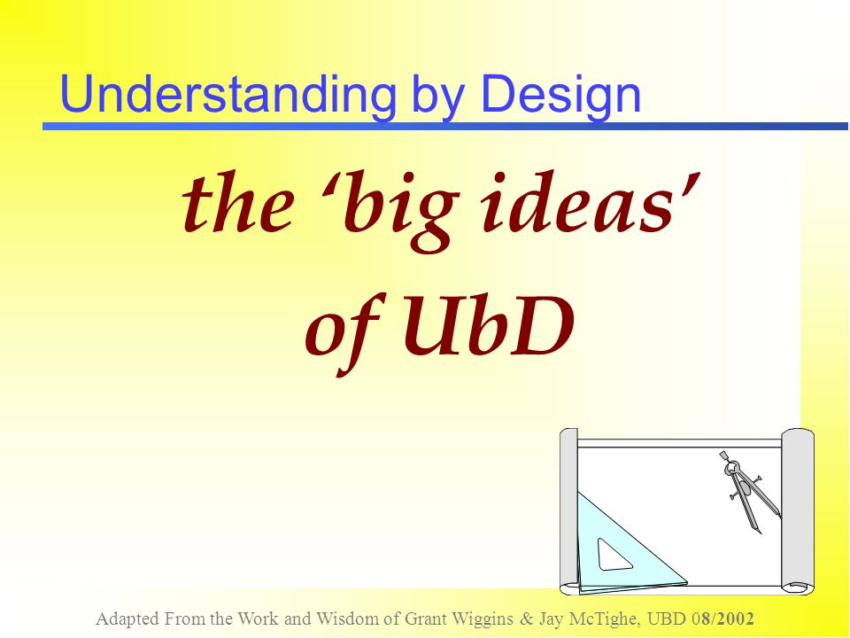 Adapted From the Work and Wisdom of Grant Wiggins & Jay McTighe, UBD 08/2002 Understanding by Design the 'big ideas' of UbD