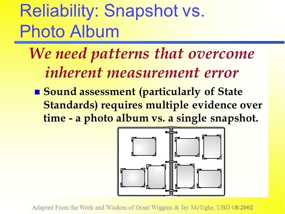 Adapted From the Work and Wisdom of Grant Wiggins & Jay McTighe, UBD 08/2002 Reliability: Snapshot vs. Photo Album We need patterns that overcome inhe