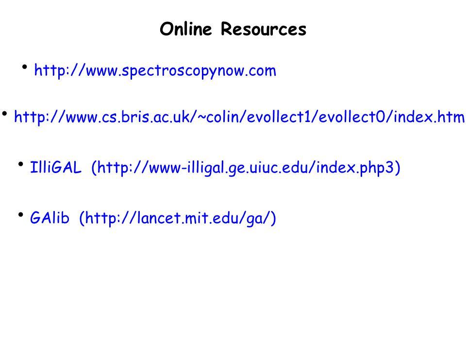 http://www.spectroscopynow.com http://www.cs.bris.ac.uk/~colin/evollect1/evollect0/index.htm IlliGAL (http://www-illigal.ge.uiuc.edu/index.php3) Online Resources GAlib (http://lancet.mit.edu/ga/)